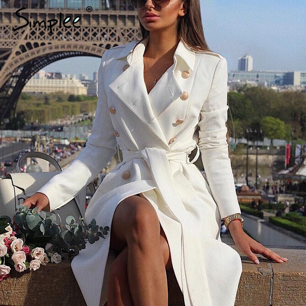 Simplee Vintage double breasted white trench coat for women Sashes slim long trench female Winter office solid trench dress