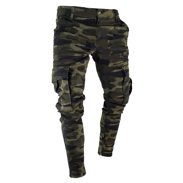 mens cargo pants denim jeans trousers slim fit fashion Casual autumn Pleated Skinny camouflage Stretch d90723