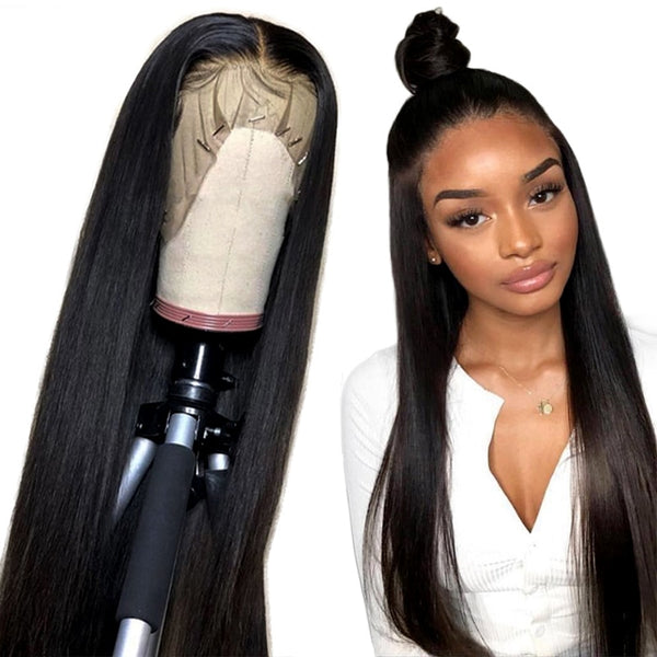 Alibele Straight Lace Front Human Hair Wigs 150% Density Peruvian Remy Hair Wig for Black Women 10-24 inch 13x4 Lace front