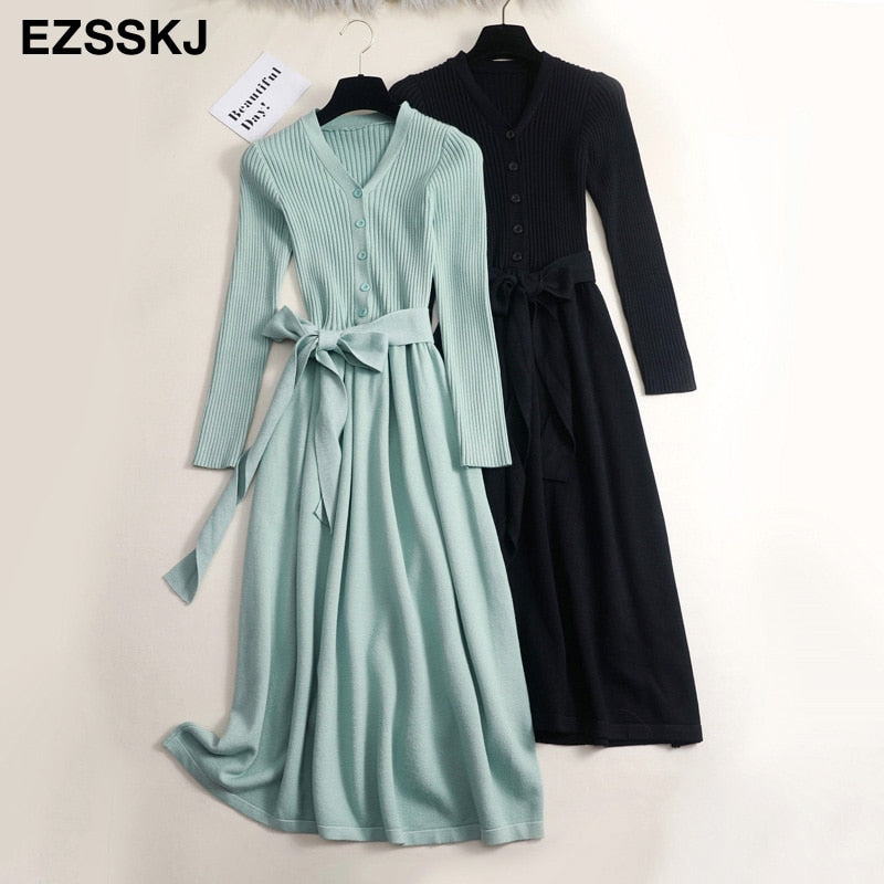 autumn winter v-neck maxi sweater dress women OL female long sweater dress with belt elegant a-line solid slim dress