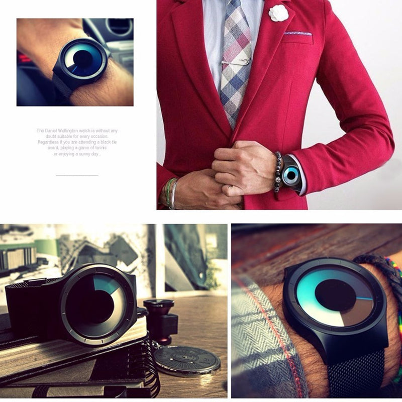 Creative Quartz Watches Men Top Luxury Brand Casual Stainless steel Mesh Band Unisex Watch Clock Male female Gentleman gift