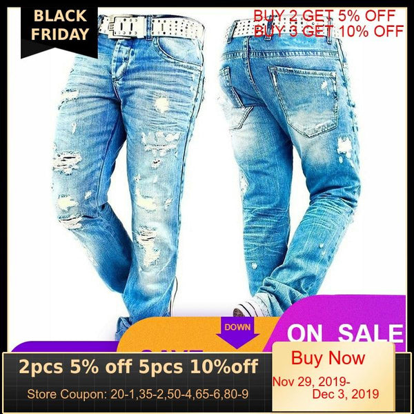 Hemiks Men's Ripped Skinny Distressed Destroyed Slim Fit Stretch Biker Jeans Pants With Holes Men Casual Pants