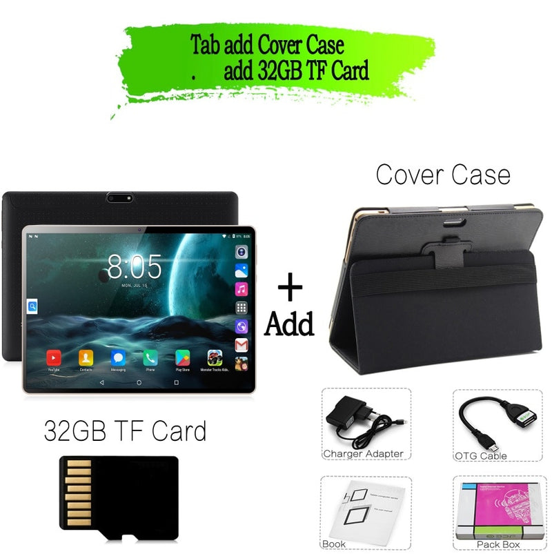 2019 New 10 inch Tablet Pc Octa Core 64G Tablets Android 7.0 WiFi Bluetooth GPS 3G Phone Call Dual SIM 10.1 inch tab