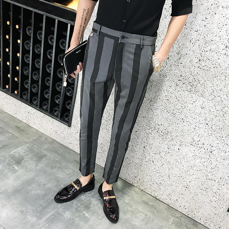 Light Weight Summer Slim Fit Dress Pants Trousers Ankle Length Striped Mens Dress Skinny Pants Streetwear Office Trousers Men