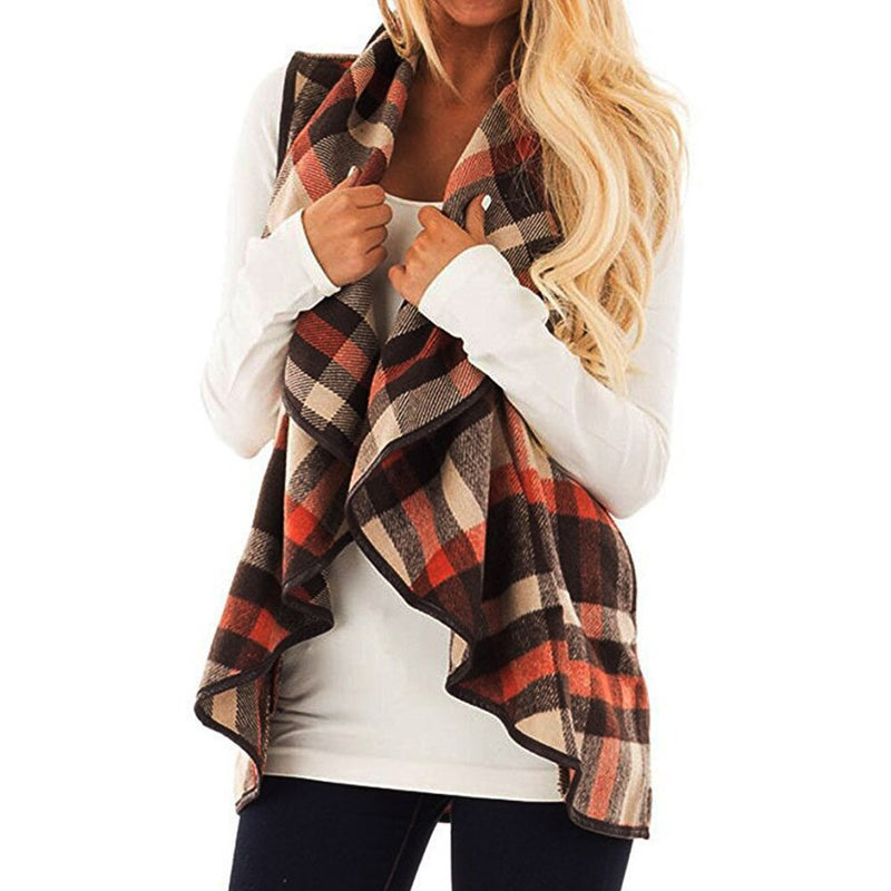 Women's Sleeveless Jacket Womens Vest Plaid Sleeveless Lapel Open Front Cardigan Sherpa Jacket Pockets Women's Autumn Jacket