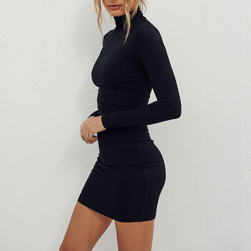 MISSOMO Autumn Party Dress Women vestidos Long Sleeve Sheath Tight bodycon dress short Mini women Dress women causal turtleneck