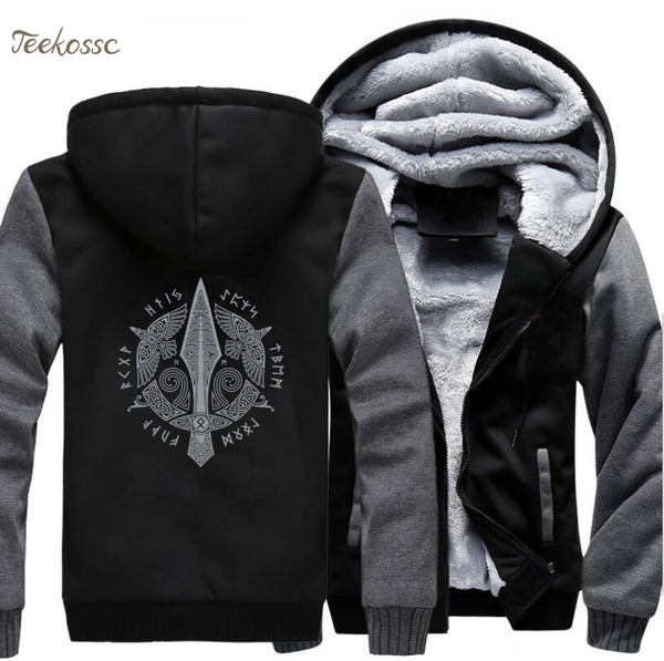 Odin Vikings Hoodie Men Viking Berserker Stylish Jacket 2018 Winter Brand Warm Fleece Hip Hop Hooded Sweatshirt Coat Homme 5XL