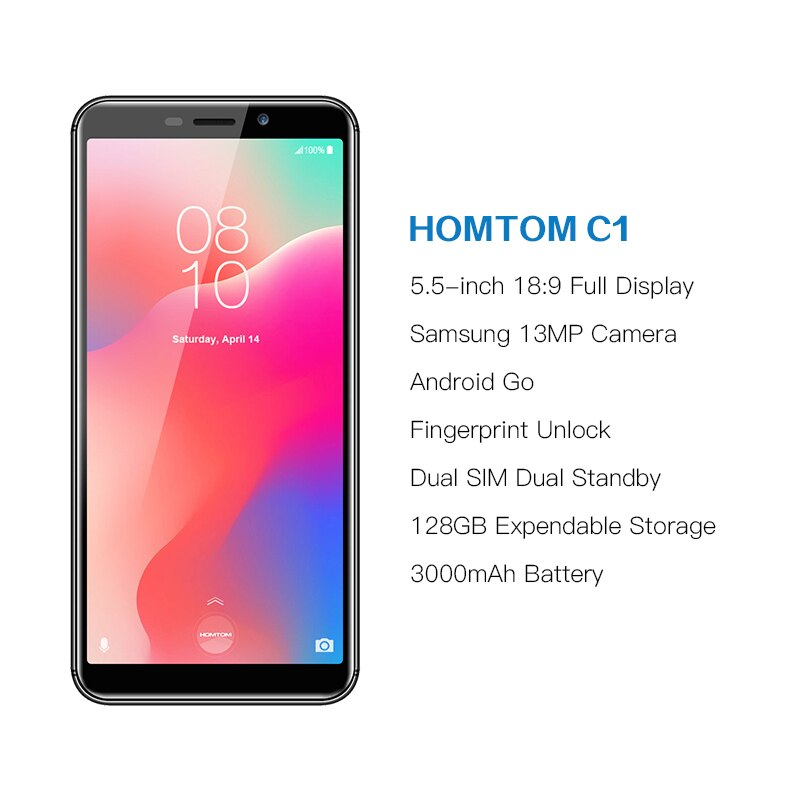 HOMTOM C1 16G ROM 5.5 Inch Mobile Phone Android 8.1 MT6580A Quad core 13MP Camera Fingerprint 18:9 Display Unlocked Smartphone