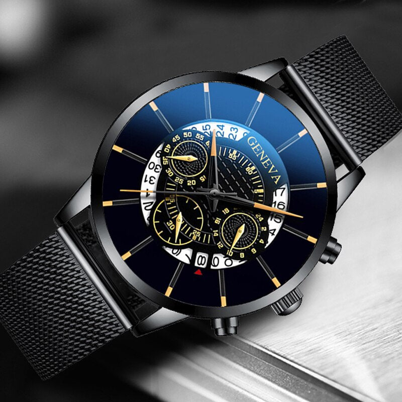 Luxury Men's Fashion Business Calendar Watches Blue Stainless Steel Mesh Belt Analog Quartz Watch relogio masculino