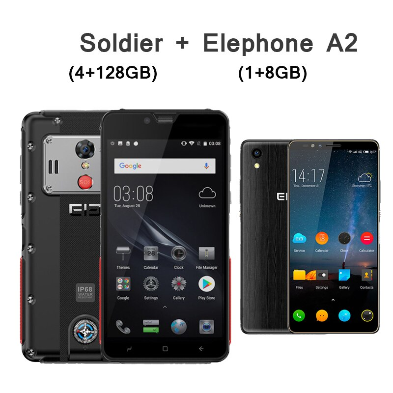 ELEPHONE Soldier Smartphone 4GB 128GB IP68 Waterproof 2K Screen mobile phone Android 8.0 Deca Core 21MP rugged Cellphone