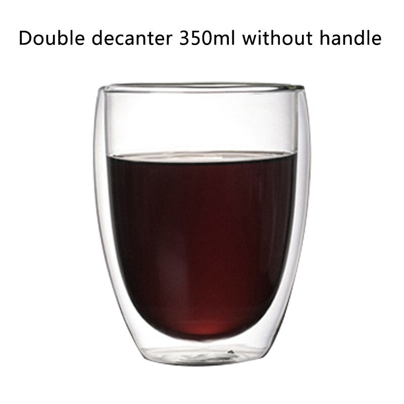 Transparent glass coffee cup milk whiskey tea beer double creative heat resistant health and environmental protection