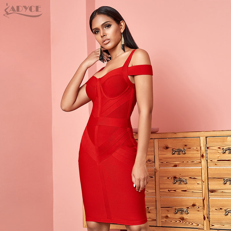 ADYCE Off Shoulder Bodycon Bandage Dress Women Sexy Wine Red Spaghetti Strap Club Dress Vestidos Celebrity Evening Party Dresses