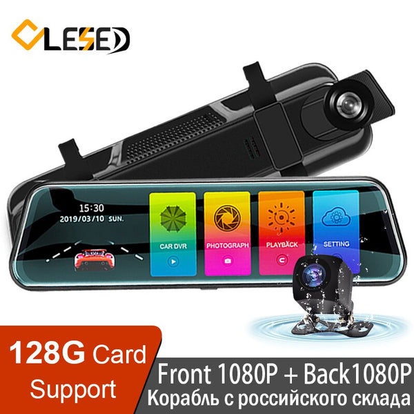 "OLESED T95S 10""IPS Screen Car Dvr Mirror Dash Camera Dash Cam Dual Lens Car Camera Full Hd Drive Recorder Stream RearView Mirror"