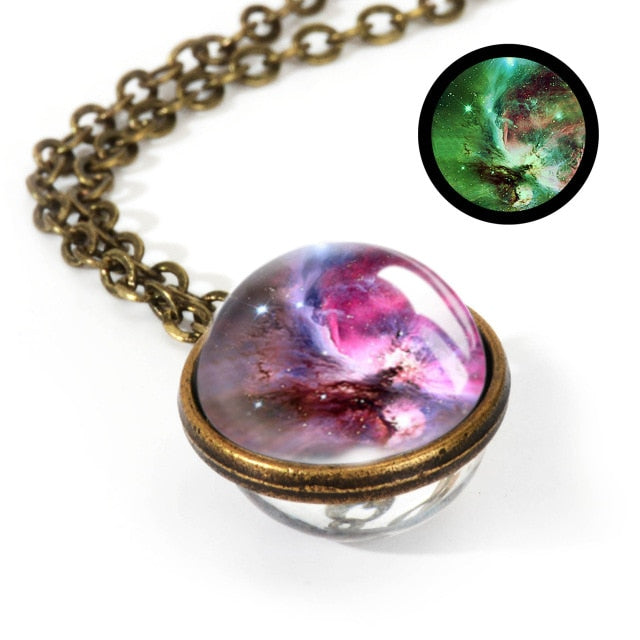 2019 New Nebula Galaxy Double Sided Pendant Necklace Universe Planet Jewelry Glass Art Picture Handmade Statement Necklace