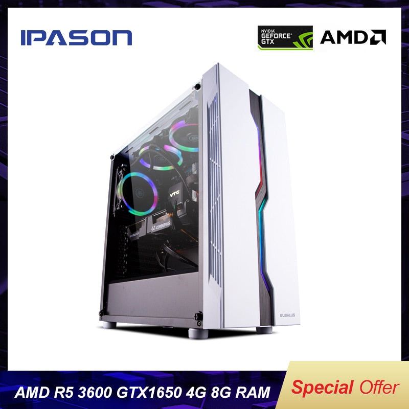 IPASON Desktop PC AMD R5 3600 New Product Dedicated card GTX1650-4G DDR4 8G RAM 240G SSD for game PUBG gaming computers PC