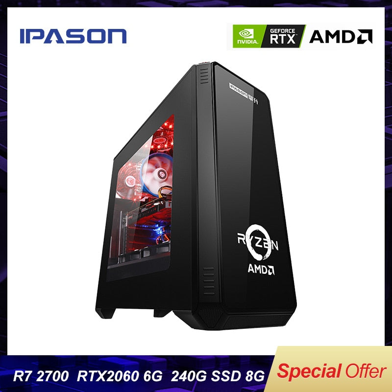 IPASON Gaming Desktop computer P88 AMD 8-Core R7 2700/RTX2060 6G/8G DDR4/240G SSD Water Cooling Assembly Computer Gaming PC