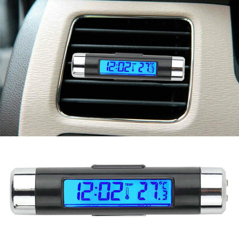 Car Air Outlet Thermometer Electronic Clock Time Led Digital Thermometer Plus Back Luminous Car Supplies