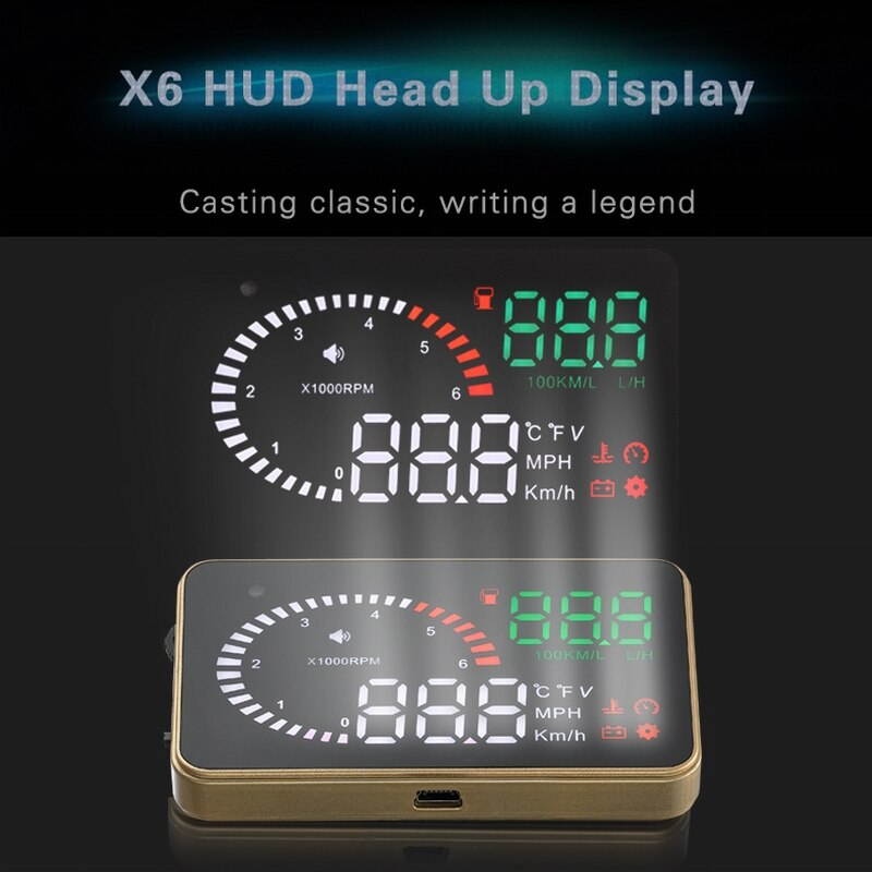 X6 3 Inch Car OBD2 II HUD Head Up Display Overspeed Warning System Projector Windshield Auto Electronic Voltage Alarm Universal