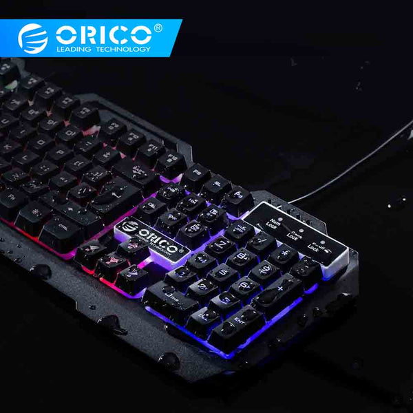 ORICO Gaming Keyboard Mechanical Keyboard 104 keys Wired Waterproof LED Backlit USB Keyboards With RGB/Ice Blue LED for Laptop