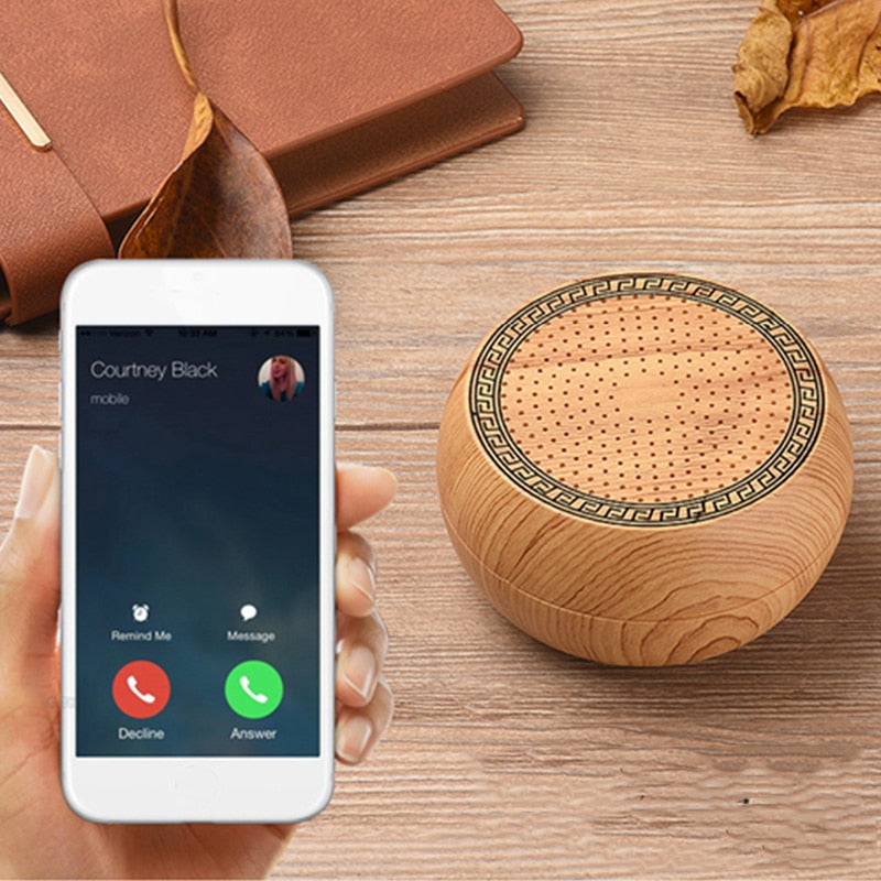Portable Mini Bluetooth Speaker Wooden Speaker MP3 Music Wireless Stereo Speakers Support TF Card AUX USB Charging