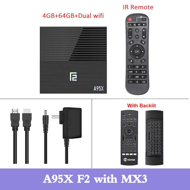 A95X F2 Smart TV Box Android 9.0 4GB RAM 32G/64G Android TV Box Amlogic S905X3 Dual Wifi BT4.2 Media Player Youtube 4K Smart Box