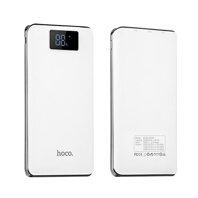 HOCO 20000mAh Power Bank External Battery 18650 Lithium Pack Portable Universal Phone Fast Charger For iphone xiaomi Samsung LG