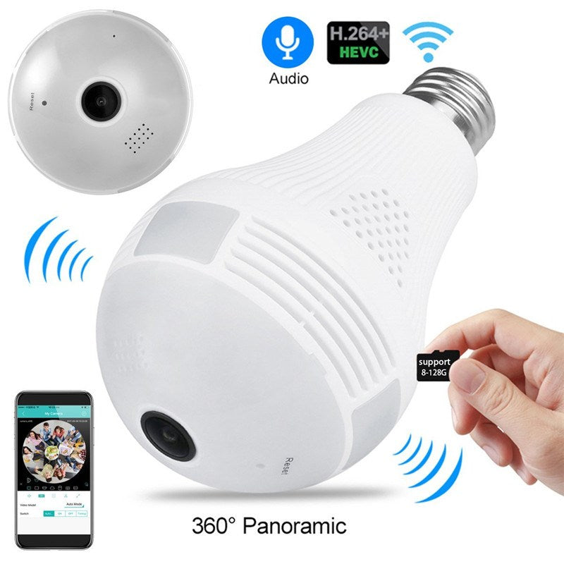Bulb Lamp Wifi Camera With Audio 1080P HD 360 Degree Indoor FishEye Wireless Home Camera Night Vision Support 128GB For phone PC