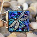 2019 New Fashion Women Men Kids Mystical BLUE DRAGONFLY Insect Spring Garden Glass Tile Pendant Necklace Jewelry Gifts