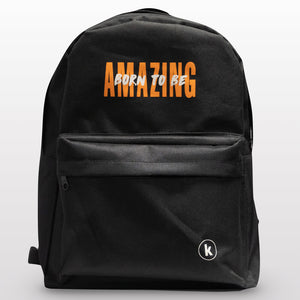 "nylon black backpack, tear-resistant, 2 compartments, Bible verse: ""I praise you because you made me in an amazing and wonderful way"" (Psalms 139:14)"