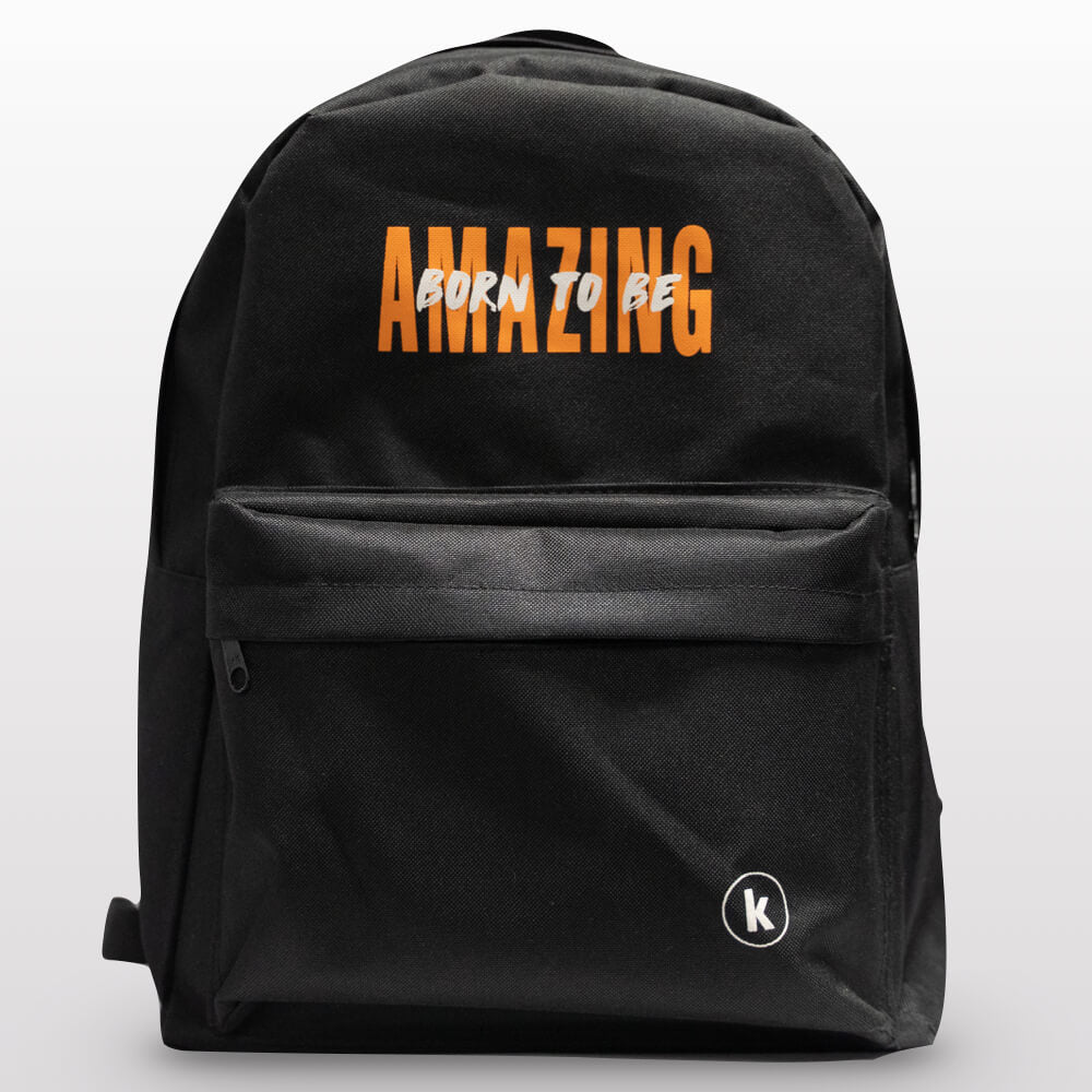 nylon black backpack, tear-resistant, 2 compartments, Bible verse:
