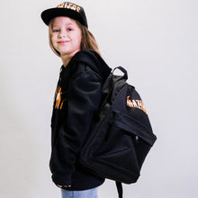 "Load image into Gallery viewer, nylon black backpack, tear-resistant, 2 compartments, Bible verse: ""I praise you because you made me in an amazing and wonderful way"" (Psalms 139:14)"