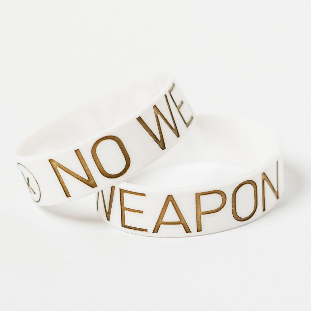 No Weapon Wristband (White & Gold) 'K' logo