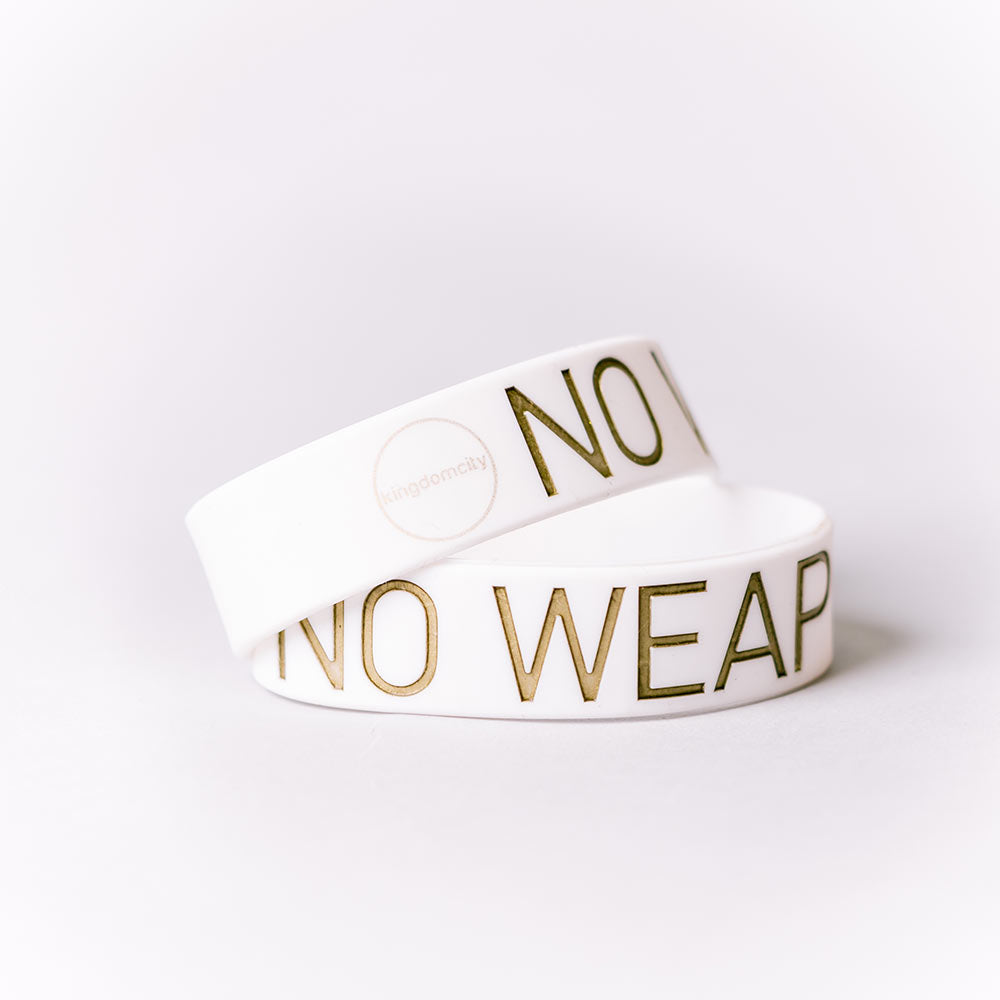 No Weapon Wristband (White & Gold)