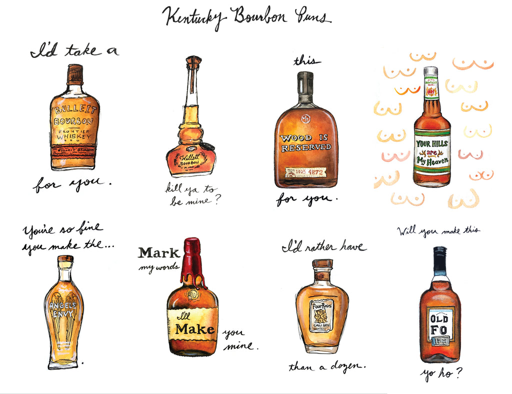 Kentucky Bourbon Puns Watercolor Print