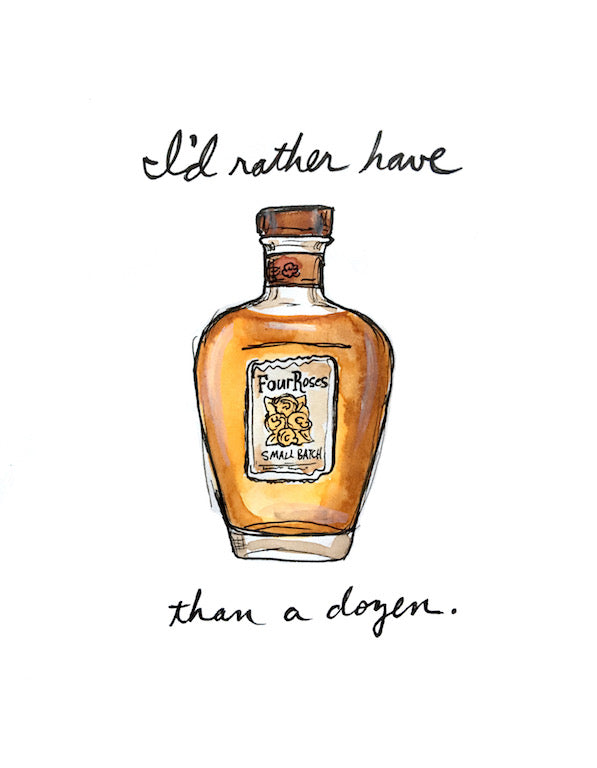 Four Roses Bourbon Pun Watercolor Postcard
