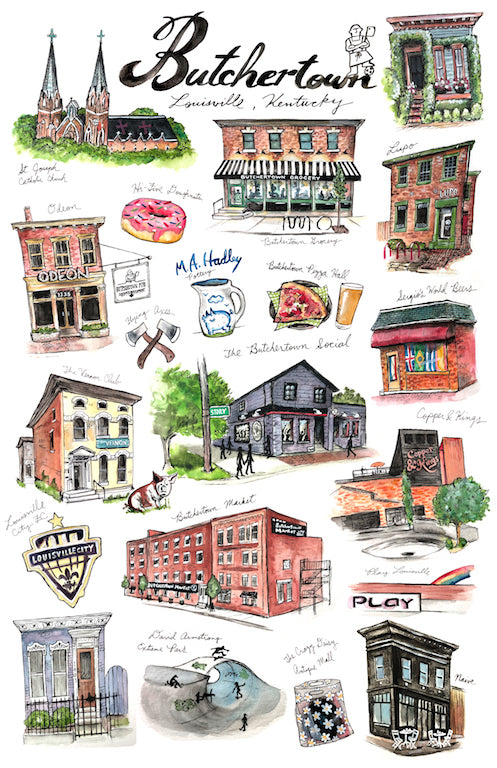 Butchertown Watercolor Print