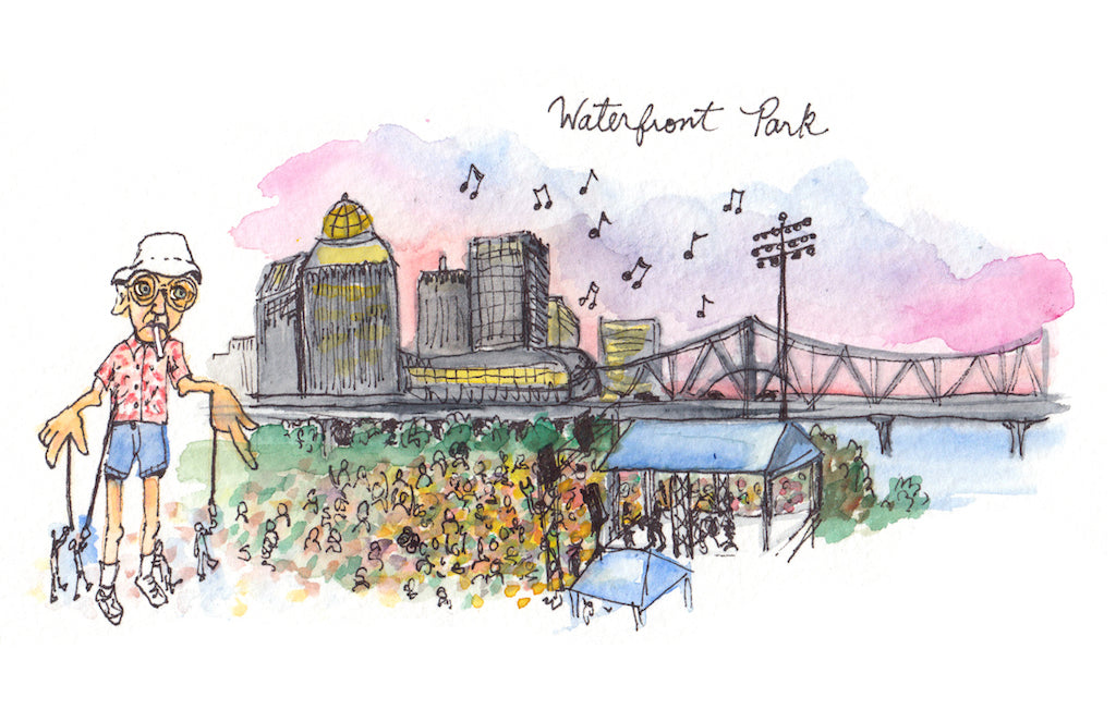 Waterfront Park Watercolor Print