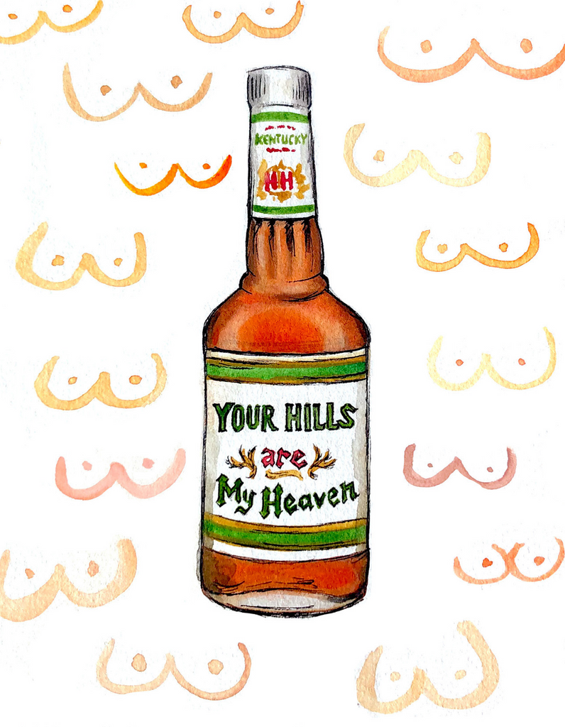 Heaven Hill Bourbon Pun Watercolor Postcard