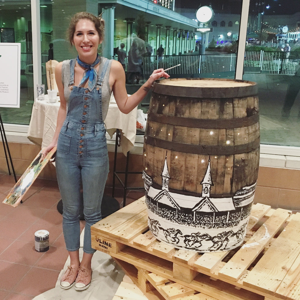 Painted Bourbon Barrel Live Art