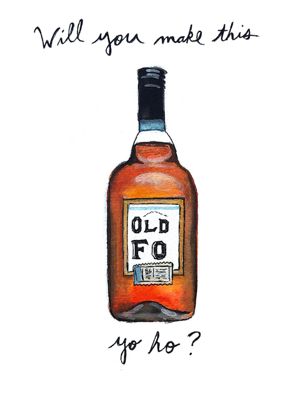 Old Forester Bourbon Pun Watercolor Print