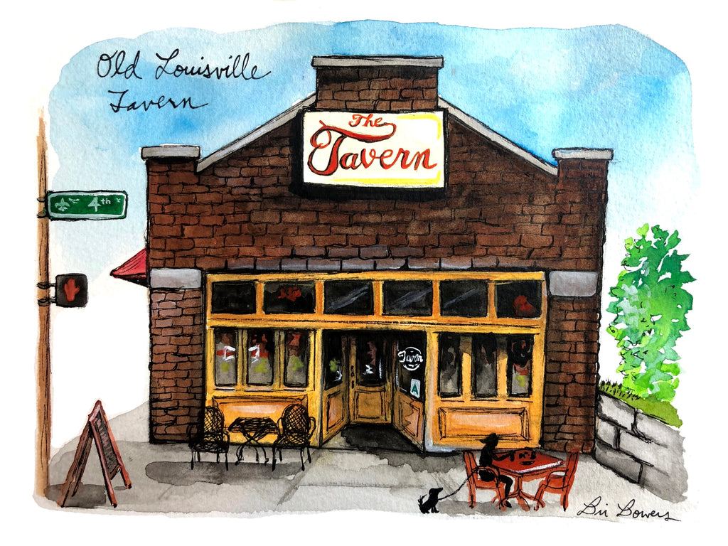 Old Louisville Tavern Watercolor Print