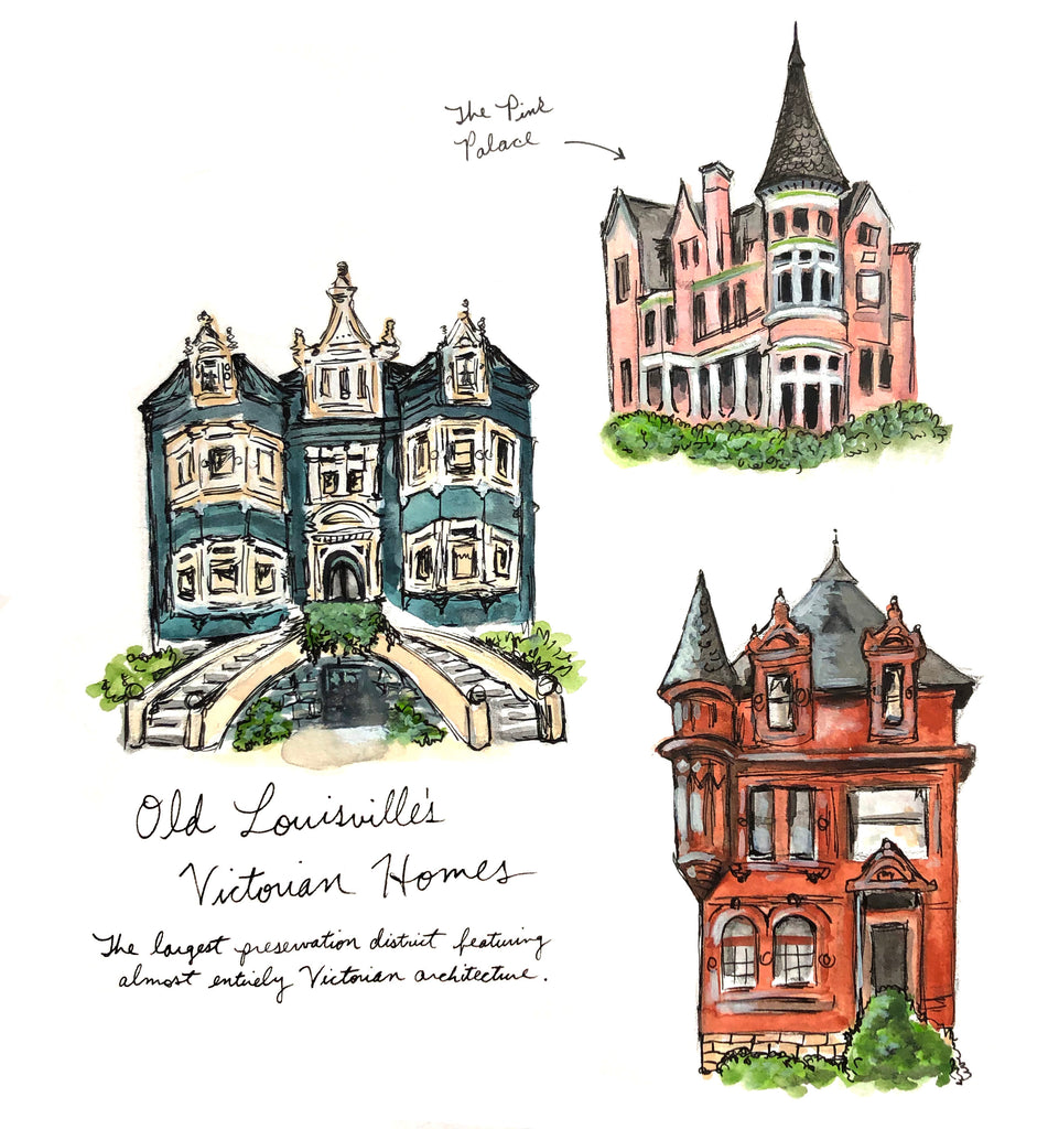 Old Louisville Victorian Homes Watercolor Print