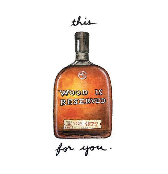 Woodford Reserve Bourbon Pun Watercolor Postcard