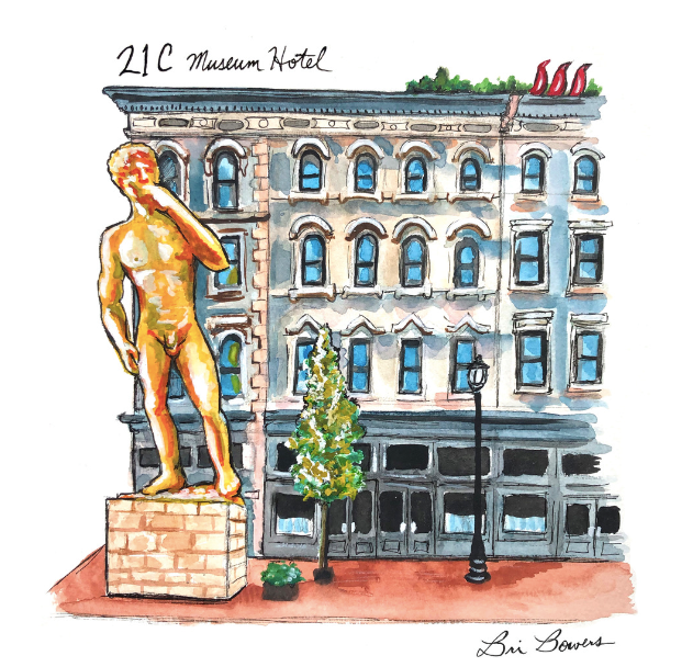 21c Museum Hotel Watercolor Print