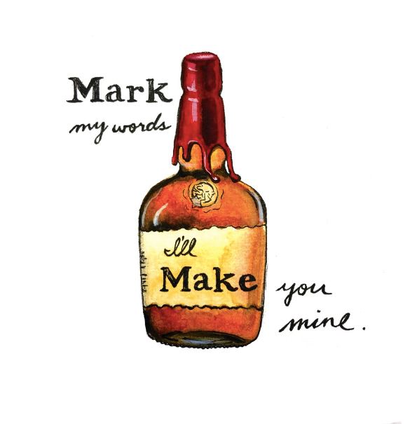 Maker's Mark Bourbon Pun Watercolor Postcard