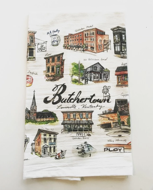 Butchertown Watercolor Tea Towel