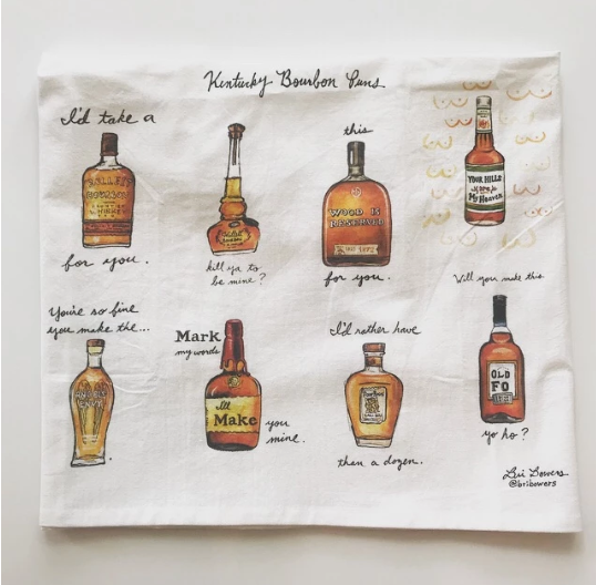 Kentucky Bourbon Pun Watercolor Tea Towel