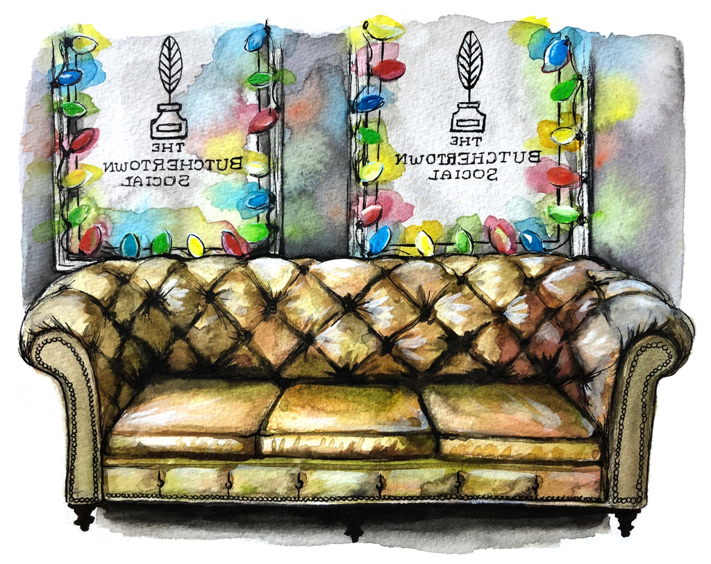 The Butchertown Social Couch Watercolor Print
