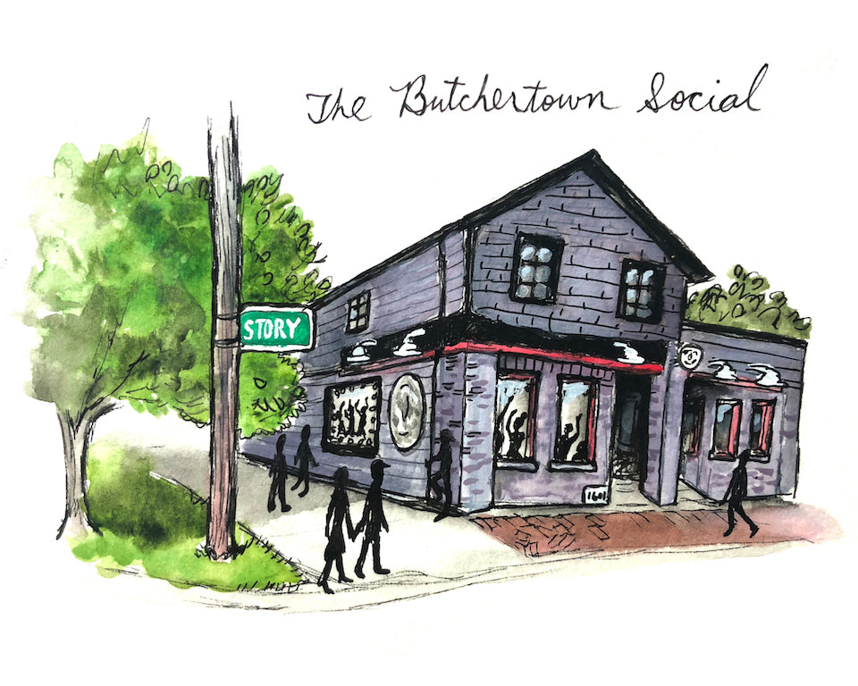 Butchertown Social Watercolor Print