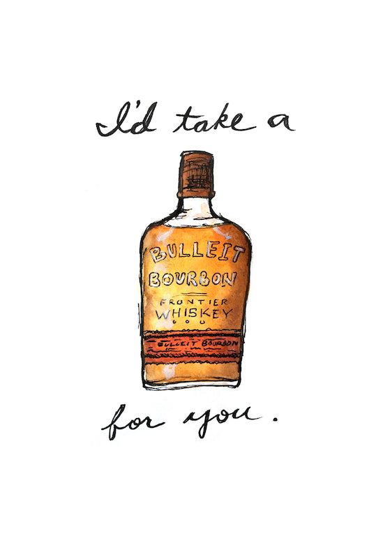 Bulleit Bourbon Pun Watercolor Postcard